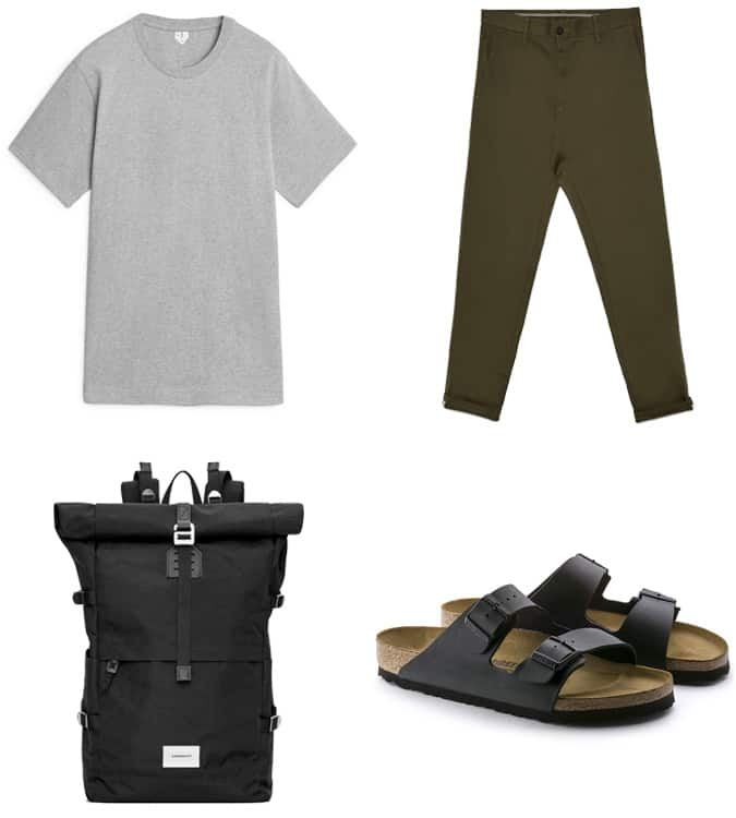 Chinos with sandals outfit for men