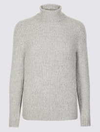 M&s Collection Supersoft Roll Neck Jumper With Wool