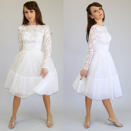 Short Lace Wedding Dress With Sleeves  Vintage Inspired  Fashion Belief