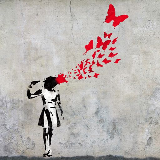 Banksy's butterfly girl suicide - stencil graffitiBanksy's graffiti work of art