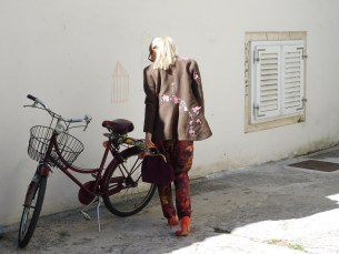 floral pants, burgundy bag - Cherie, floral woolen asimetrical coat