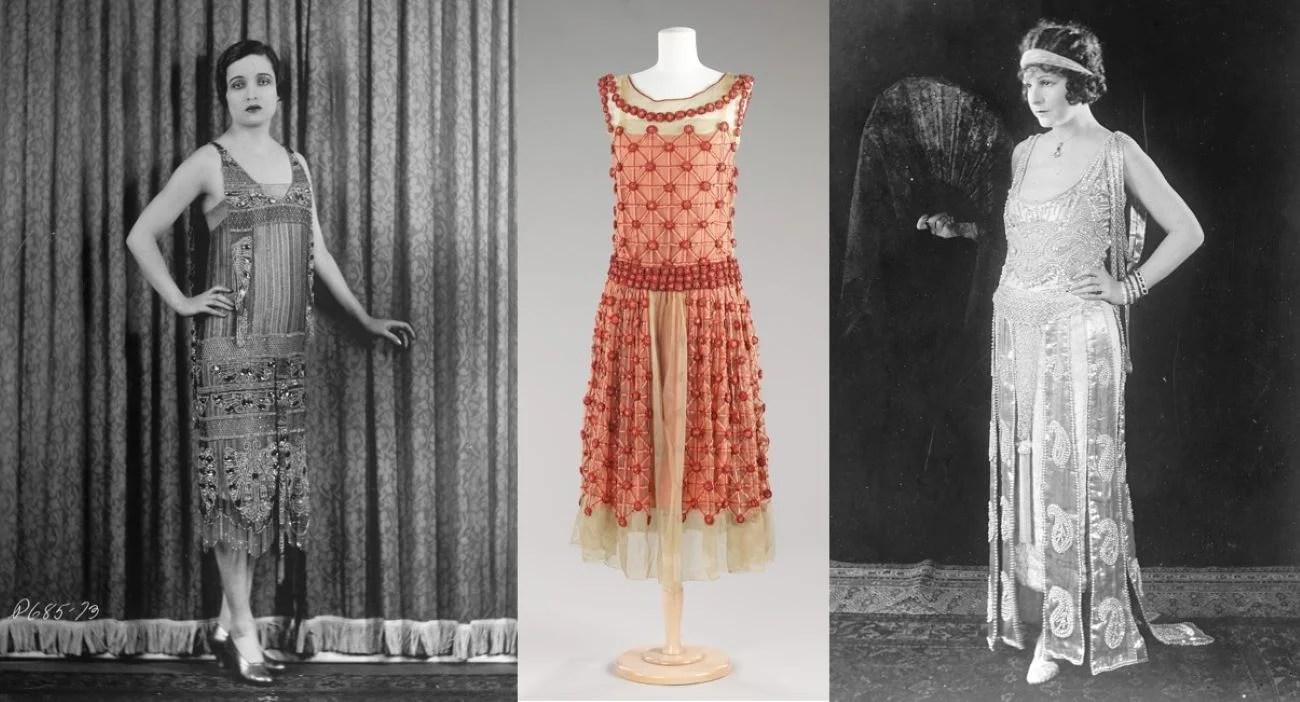 Três modelos de vestido da moda dos anos 20