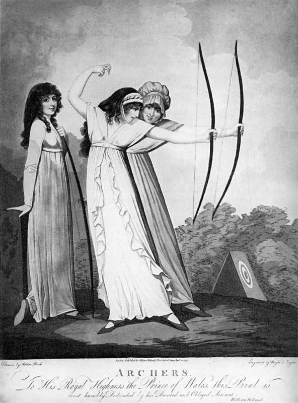Desenho de três arqueiras com a moda império de 1799.