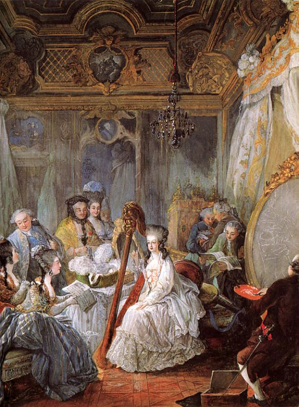 Marie Antoinette tocando a harpa, de 1775.