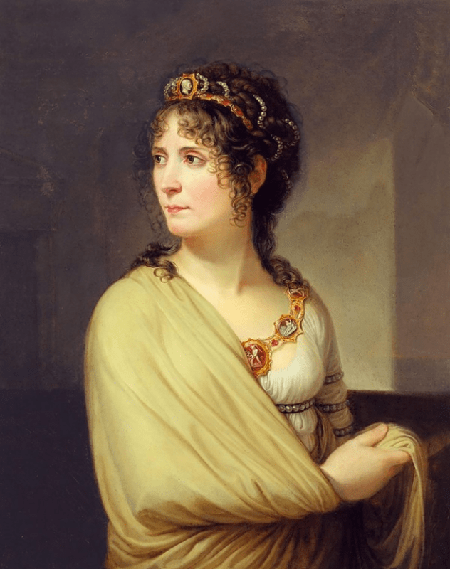 Retrato de Joséphine de Beauharnais com a moda império, de 1808.