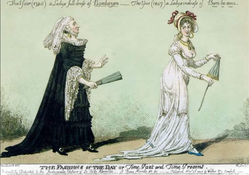 """Desenho intitulado """"A moda do dia, ou Tempo Passado e Tempo Presente"""", de 1807."""