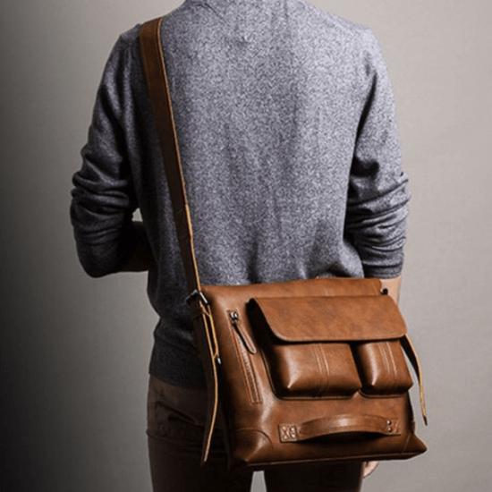 bolsa masculina bolsa grande transpassada nas costas de couro
