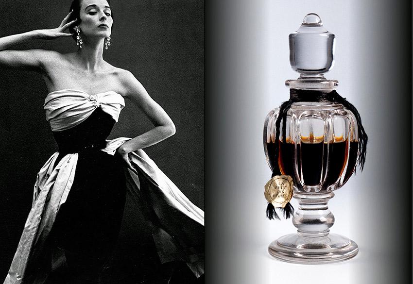 Modelo com um vestido sem alças de Cristóbal Balenciaga em uma publicidade do seu perfume, de 1949.