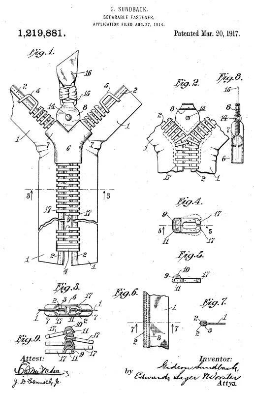 Ilustração da patente do zíper de Gideon Sundbäck de 1917 com a explicação dos seus componentes e funcionamento