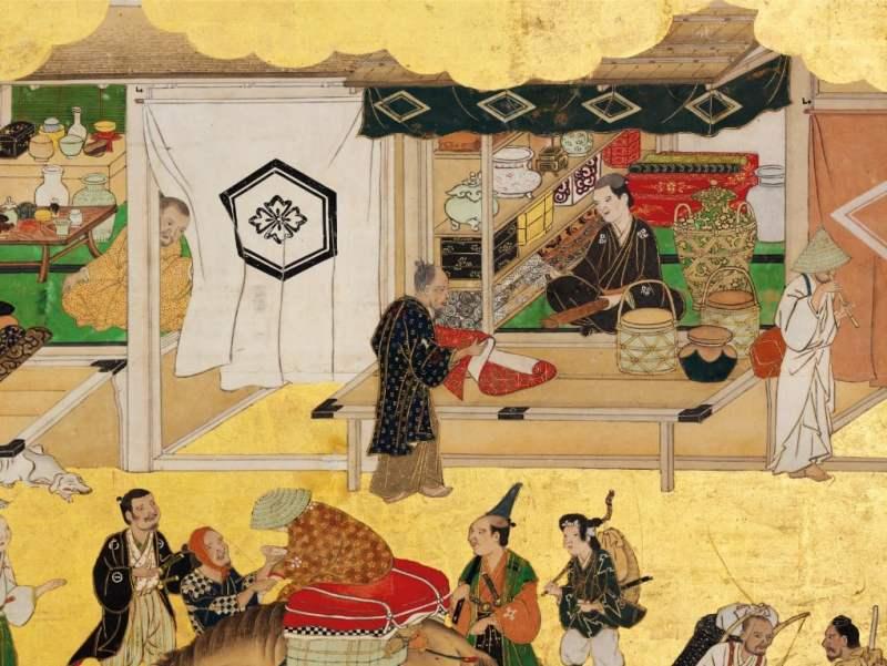 Parte de um biombo japonês mostrando a venda da seda, século XVII.