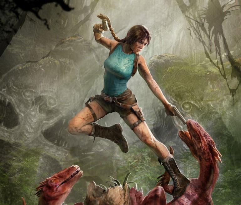 Imagem da personagem Lara Croft apontando uma arma a um monstro. Ciberespaço.