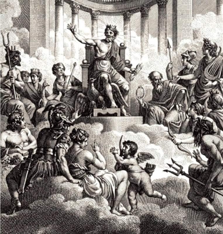 Os deuses e deusas gregas do Olimpo, Zeus, Hera, Poseidon, Atena, Ares, Deméter, Apolo, Ártemis, Hefesto, Afrodite, Hermes e Dionísio.