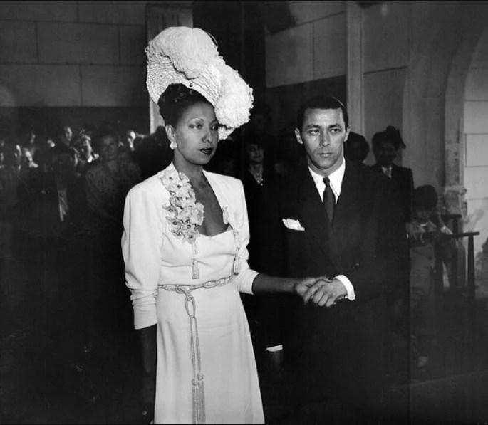 A artista Josephine Baker no seu quarto casamento, em 1947.