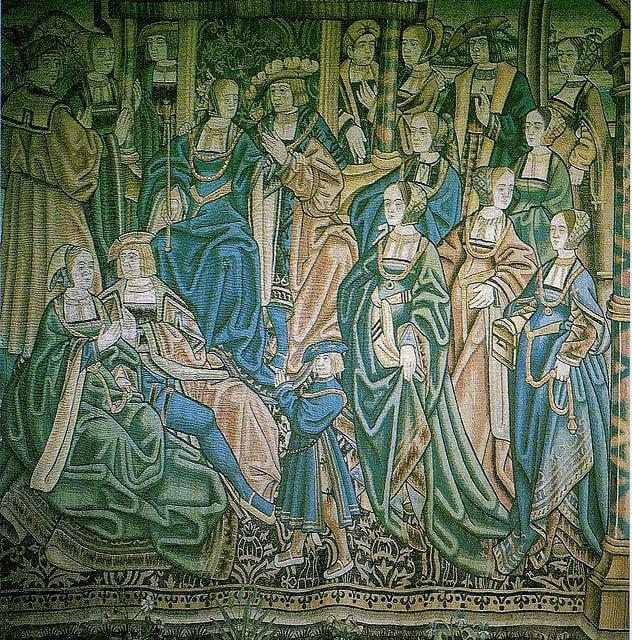 Tapeçaria flamenga ilustrando a Catarina de Aragão, com um vestido de noiva verde, e seu marido, o Príncipe de Gales.