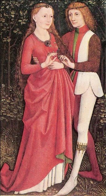 Os amantes. 1470, com um vestido de noiva vermelho.