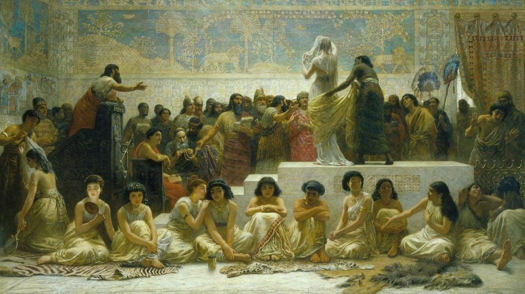 O Mercador de casamento na Babilônia, com uma mulher com um vestido de noiva branco.