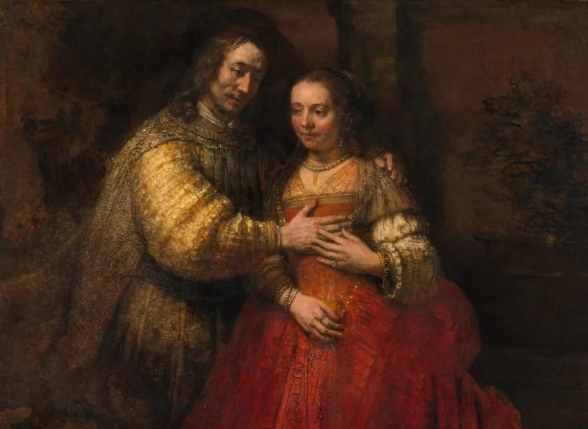 Isaac e Rebecca, pintura conhecida como 'A noiva judia`, com um vestido d enoiva vermelho.