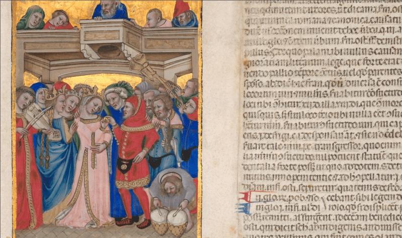 Desenho em um detalhe da página de uma novela medieval, de Nicolo da Bologna, com um vestido de noiva rosa.