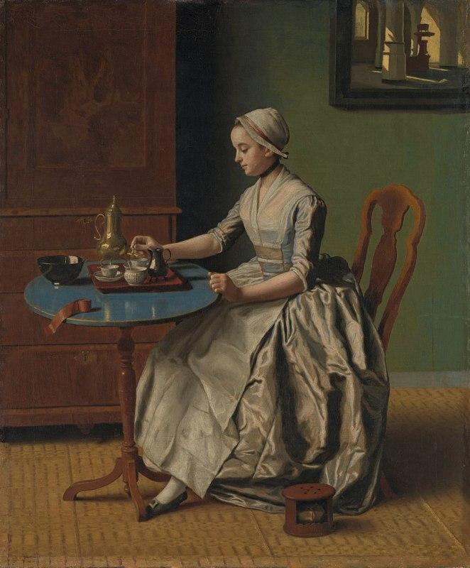 Uma mulher a beber chocolate, de Jean-Étienne Liotard, c. 1744.