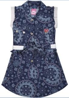vestido azul florido