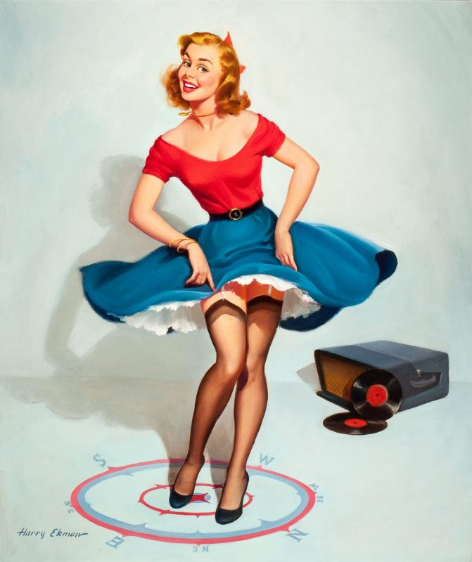 "Ilustração pin-up ""I don't go far in any direction"", de 1950."