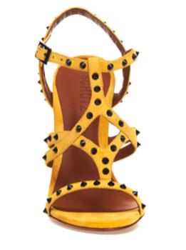 sandalia amarela vista de frente