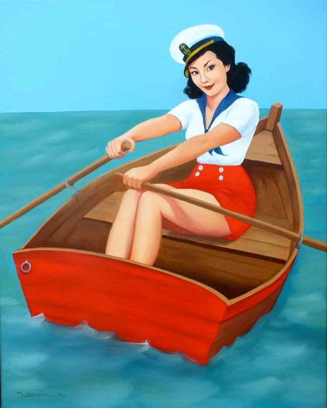 Ilustração em estilo pin-up de Fiona Stephenson.