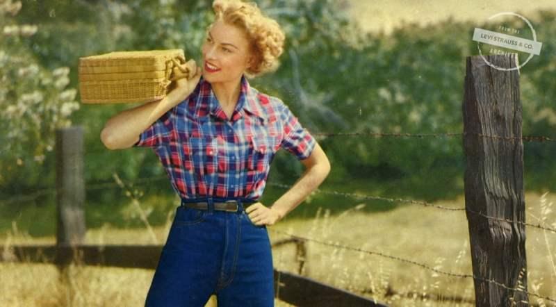 Publicidade de um Jeans feminino da Levi´s. História do Jeans.