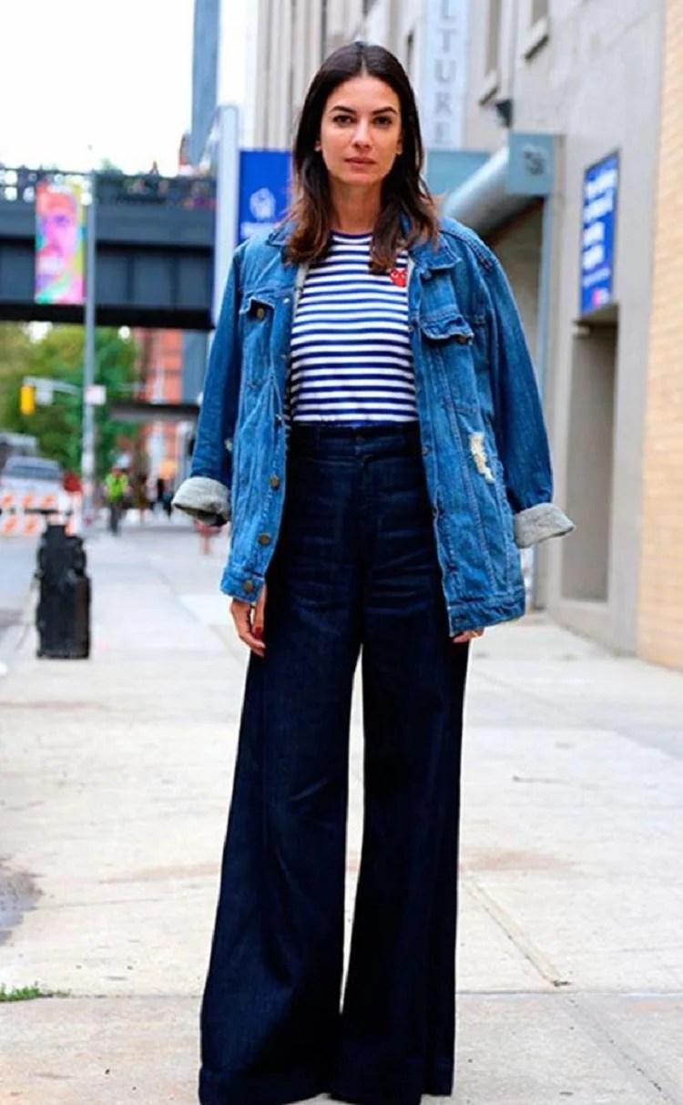 Foto Wide Leg com Jaqueta Jeans