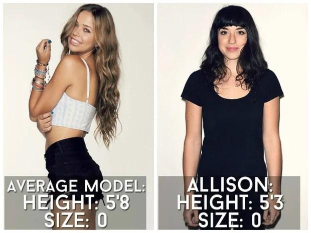 Imagem de mulheres vestindo roupas com um único tamanho.