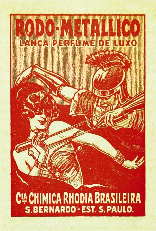 Publicidade do lança-perfume da Rhodia.