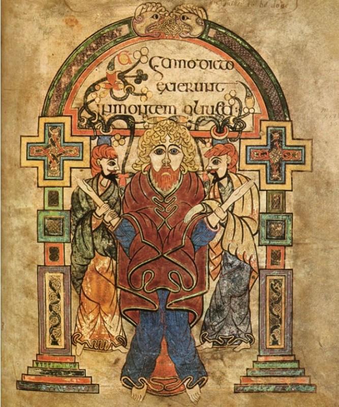 Ilustração da prisão de Jesus no Livro de Kells do século IX, Folio 114v.