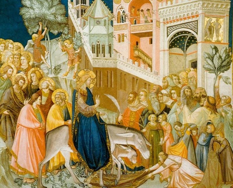 Pintura da entrada de Jesus em Jerusalém, de 1320.