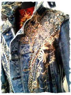 Denim embellished jacket