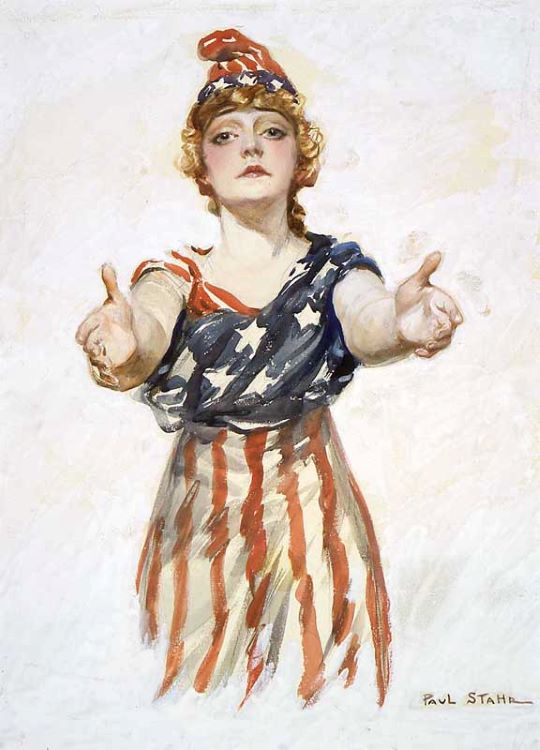Mulher com um vestido e chapéu com a bandeira dos Estados Unidos