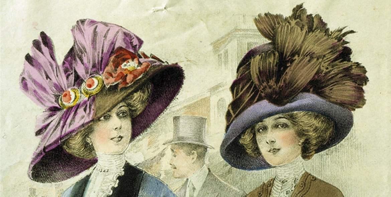 Ilustração em cores de duas mulheres e um homem usando chapéus do início do século XX