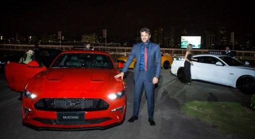 Rodrigo lombardi no lançamento da Mustang no Brasil