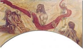 Pintura de Jesus segurando um enorme tecido que se estende as pessoas