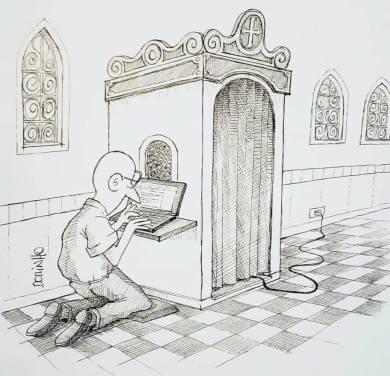 """exposição de cartoons """"Construindo a cidade MIL"""" do prof. Dorinho Bastos do CEACOM da ECA-USP 98"""