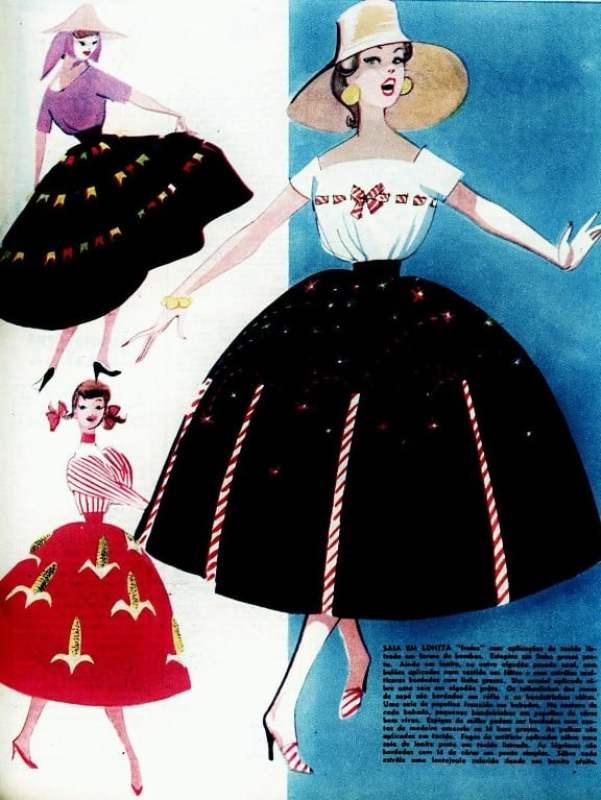 Ilustrações de trajes típicos de Festa Junina de Alceu Penna.
