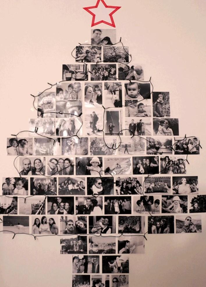 árvore de natal com fotos de família