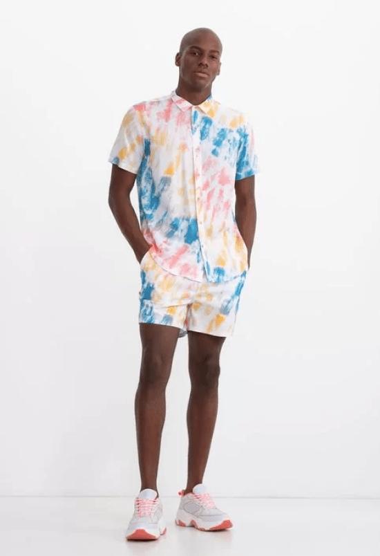 Conjunto tie-dye camisa e short