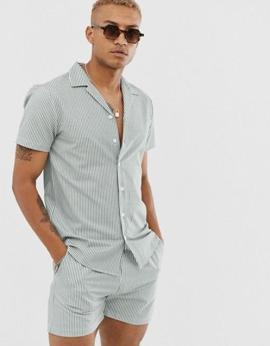 Conjunto listrado camisa e short