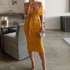 vestidos midi festa amarelo de bolinhas