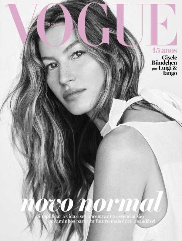 vogue brasil com a modelo Gisele em preto e branco Capas de revistas