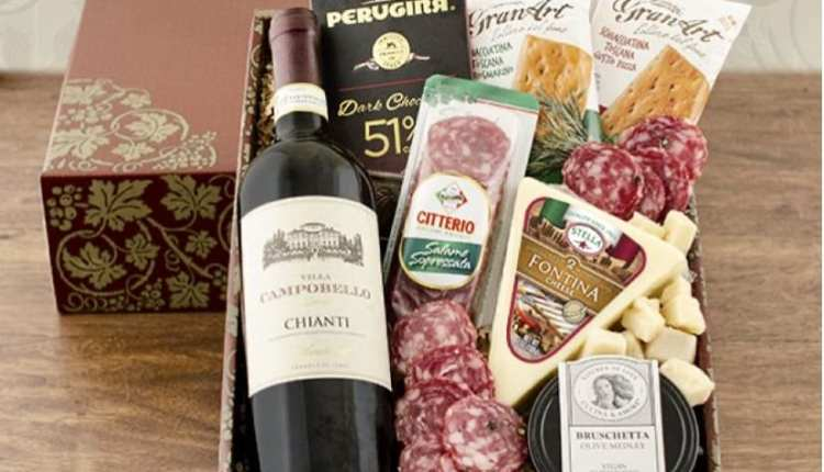 Kit vinho e salames - Presente de Dia dos Pais