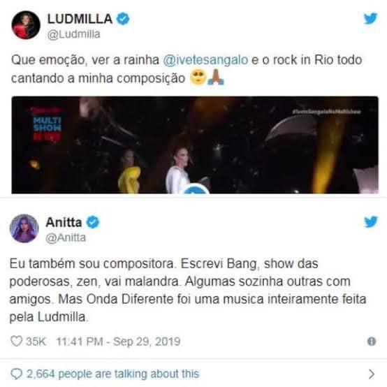 Ludmilla X Anitta - Twitter de Ludmilla agradecendo a Ivete, já que originalmente a música é sua