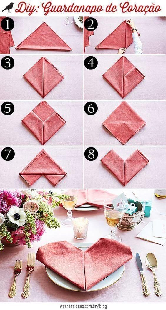Jantar romantico Como fazer um origami de coraçao com guardanapo