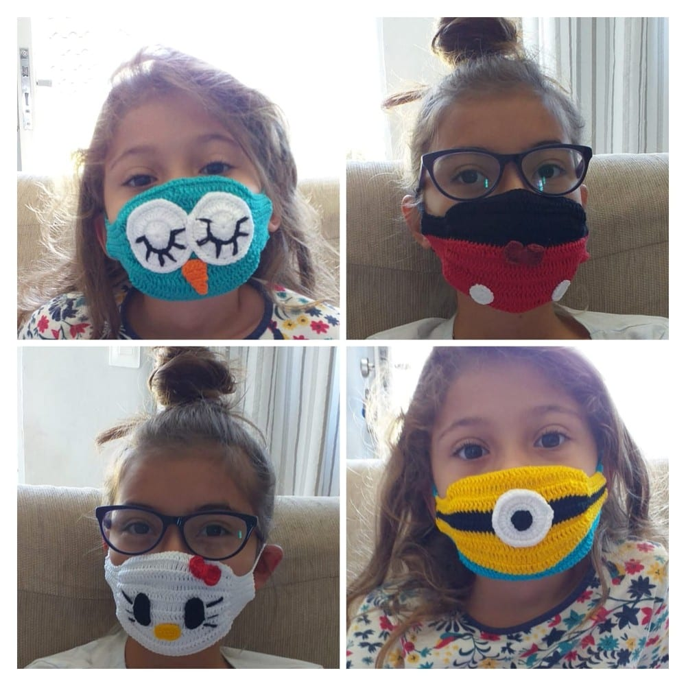 máscara de crochê infantil
