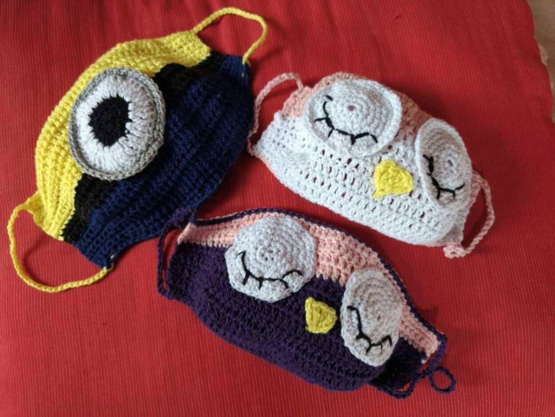 máscara de crochê infantil bichinho 3